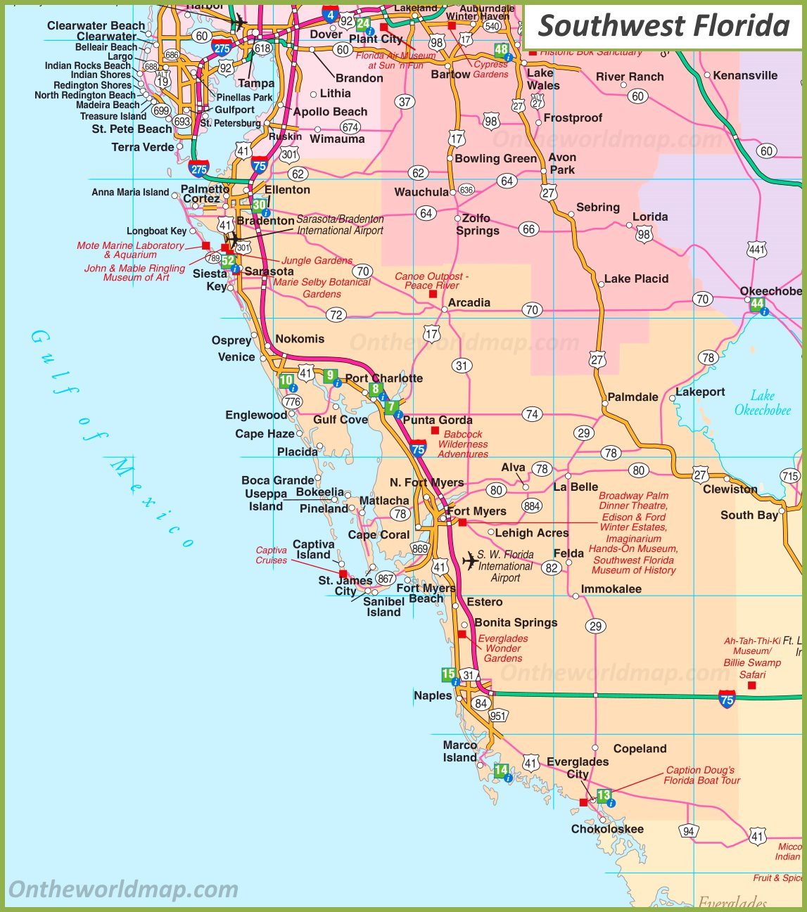 Map Of Southwest Florida