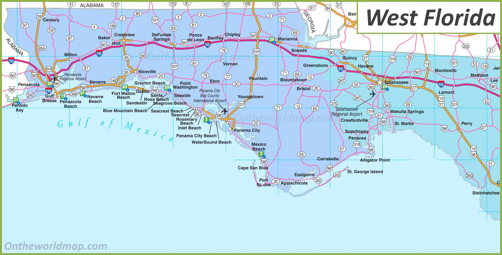 Map Of Western Florida Cities Map of West Florida