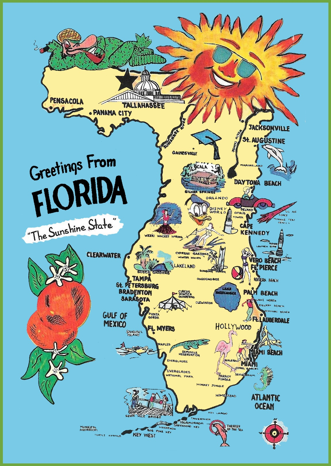Pictorial Travel Map Of Florida - Florida map beach