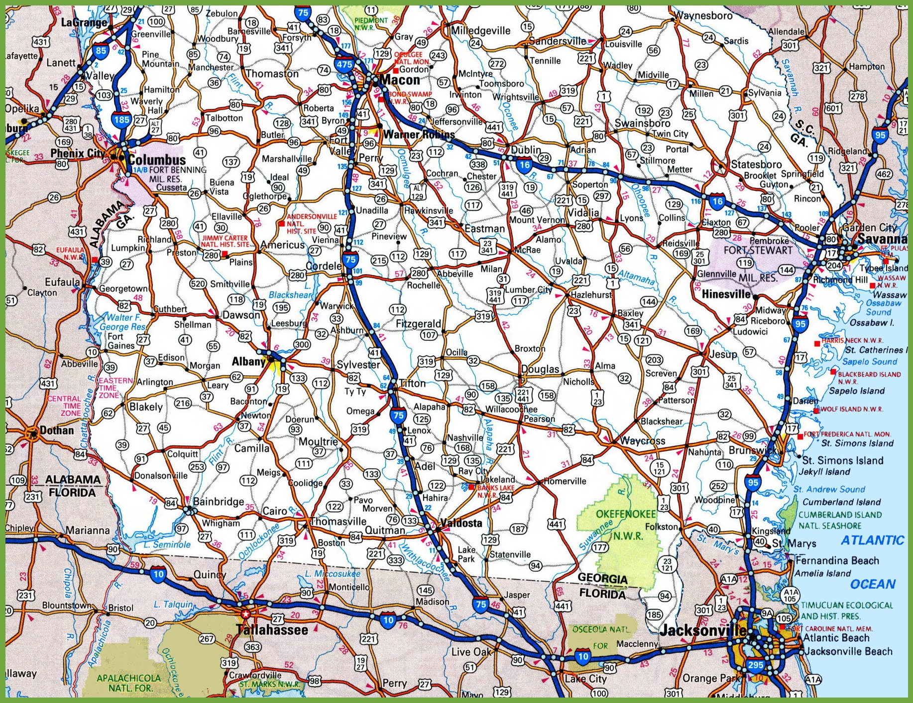 Map Of Georgia With Highways.Map Of Southern Georgia