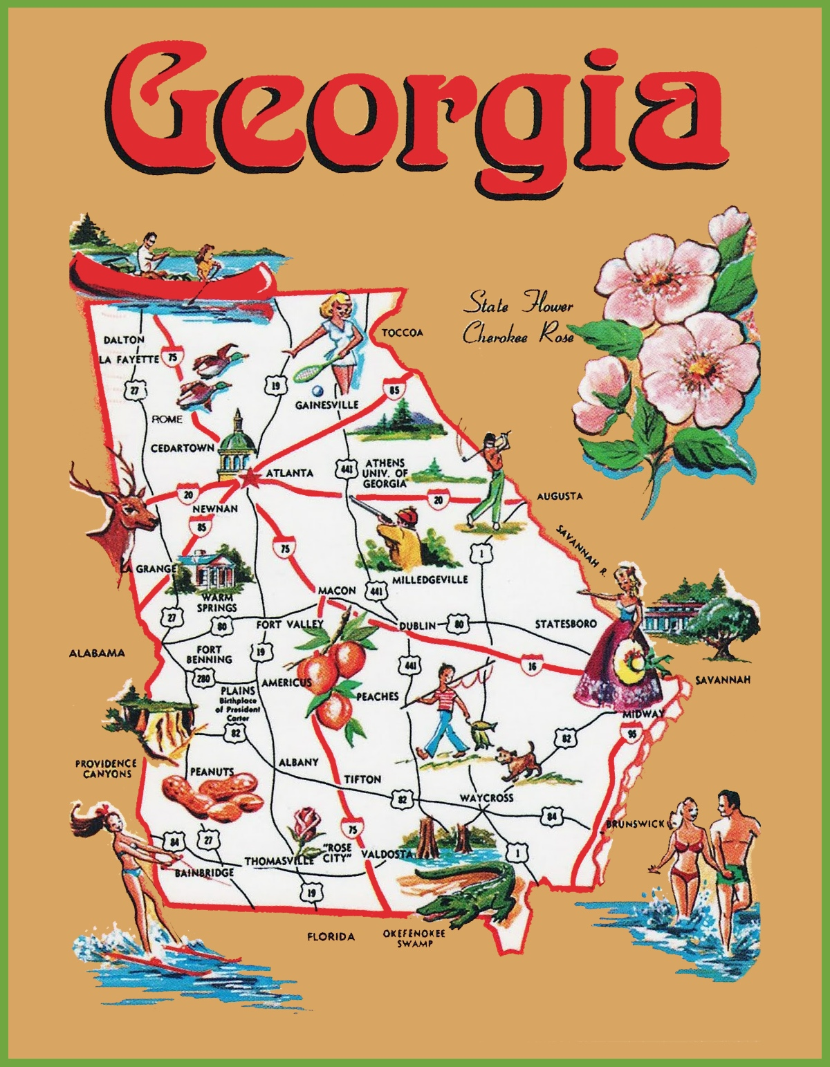 Pictorial Travel Map Of Georgia - Georgia on usa map