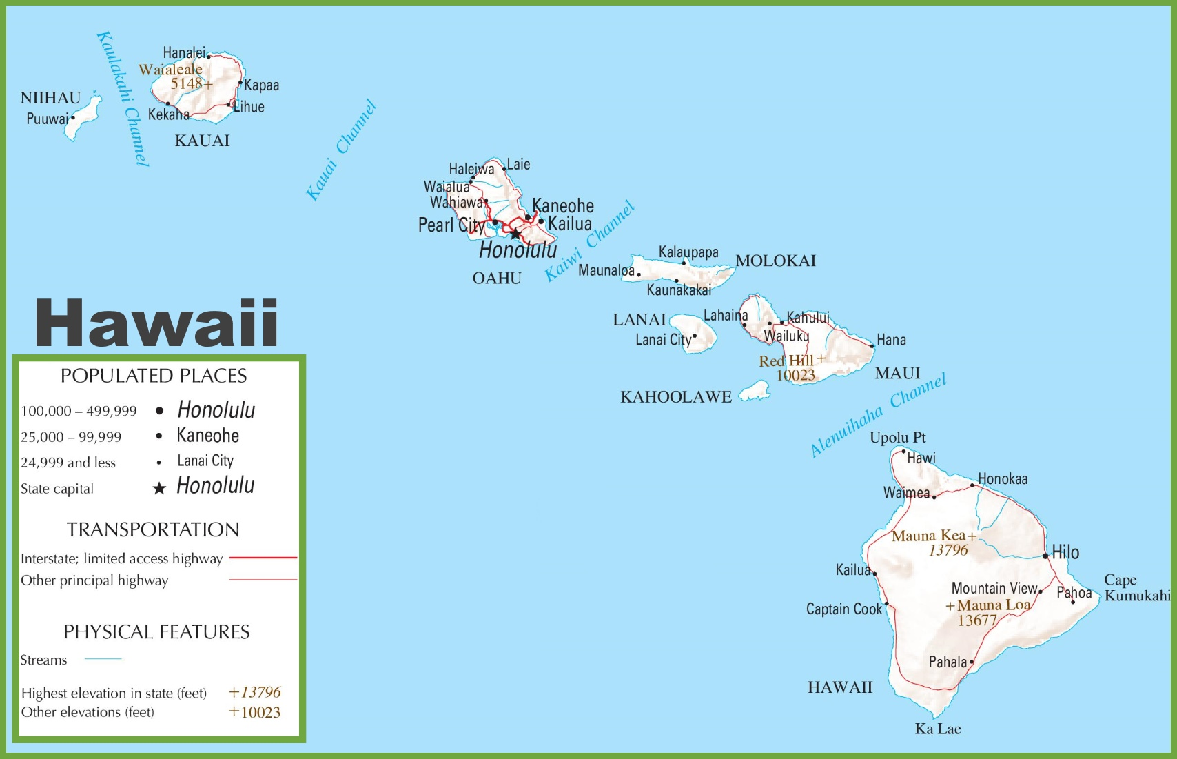 Hawaii highway map hawaii highway map gumiabroncs Gallery