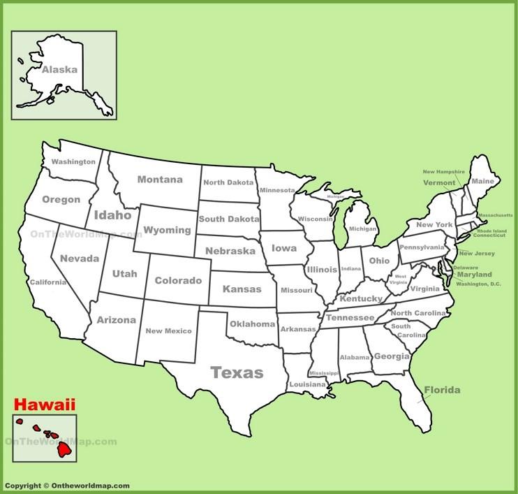 Hawai location on the U.S. Map