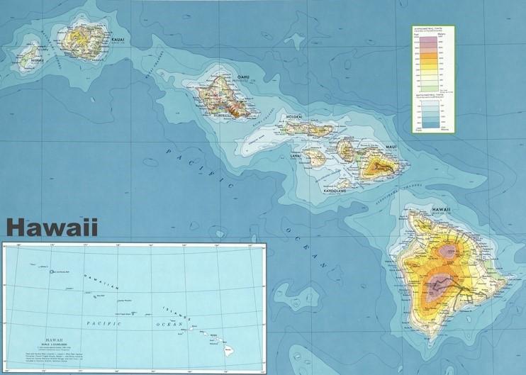 Hawaii physical map