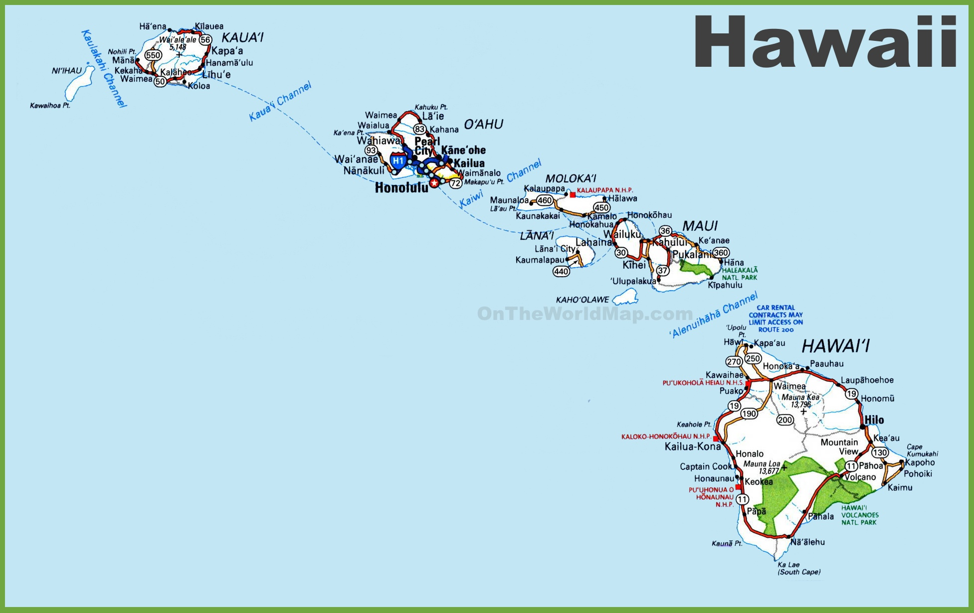 Hawaii Road Map - Hawaii road map