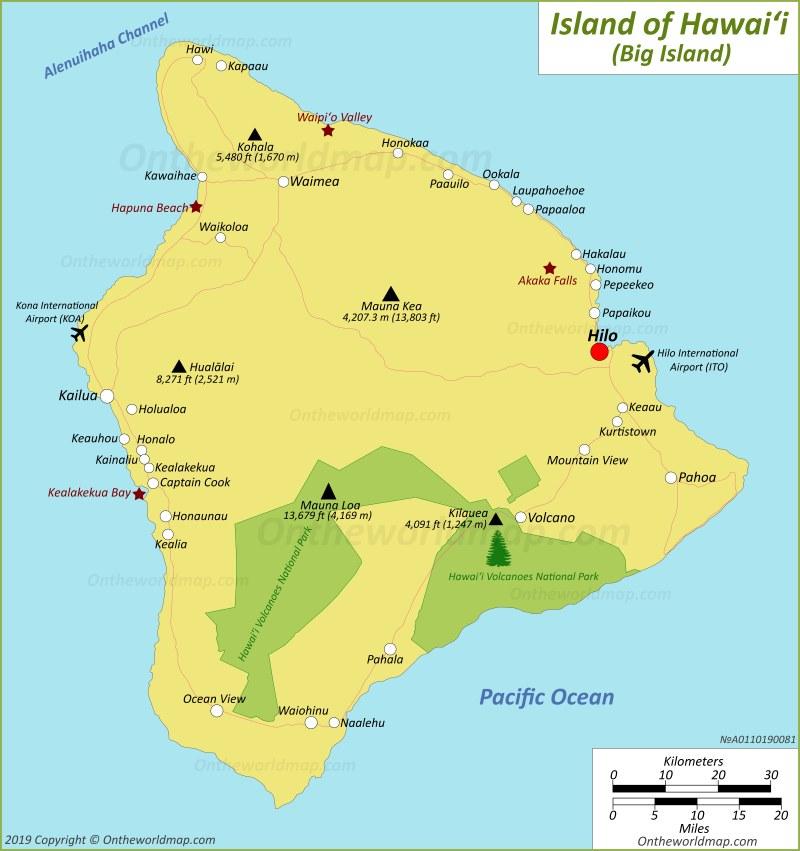 Map of Island of Hawaiʻi