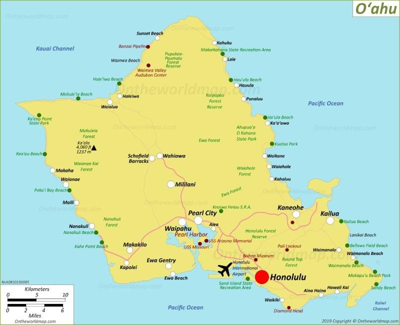 map of oahu towns Oahu Map Hawaii Usa Map Of Oʻahu Island map of oahu towns