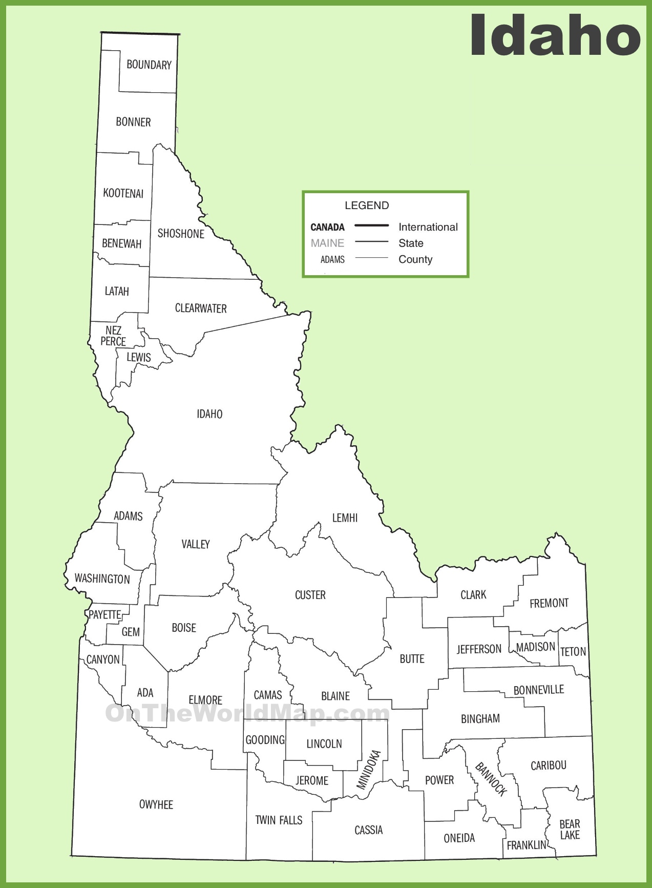 Idaho County Map Idaho county map Idaho County Map
