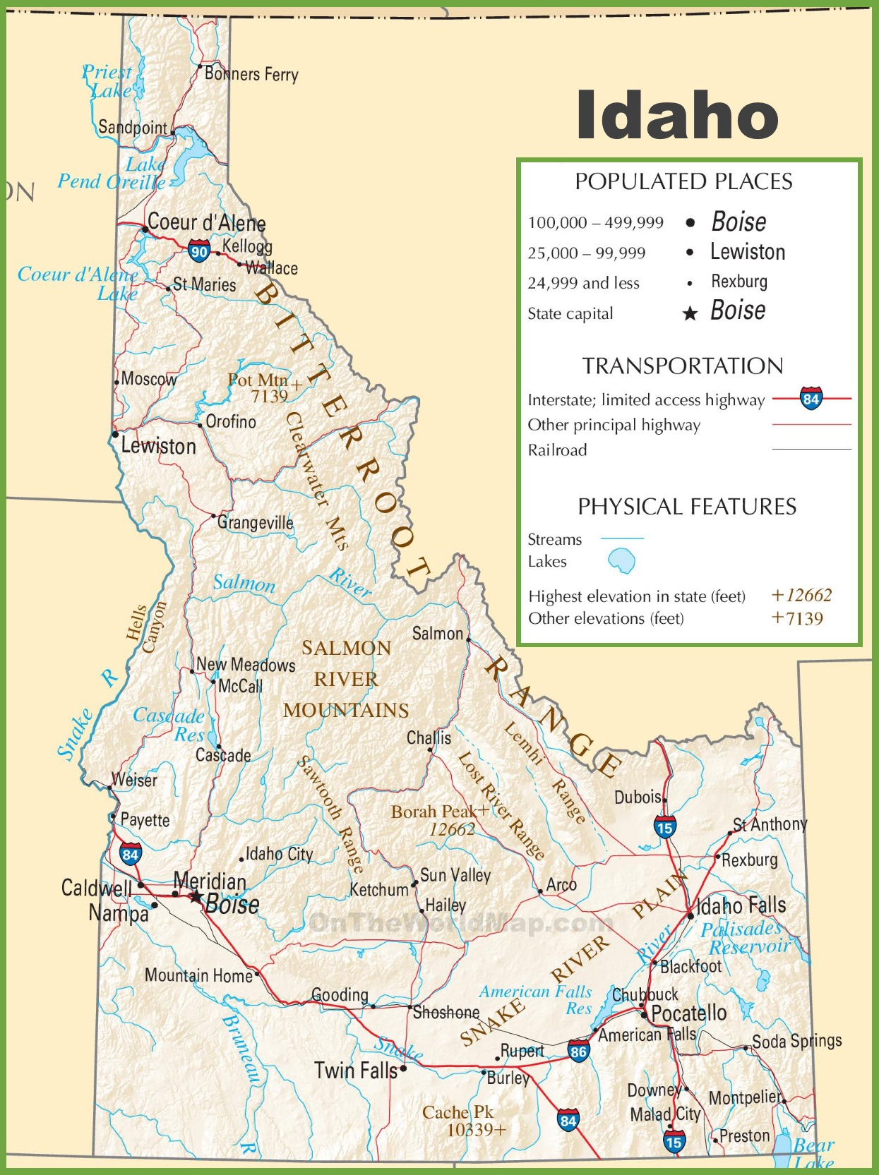 Idaho State Map Idaho highway map Idaho State Map