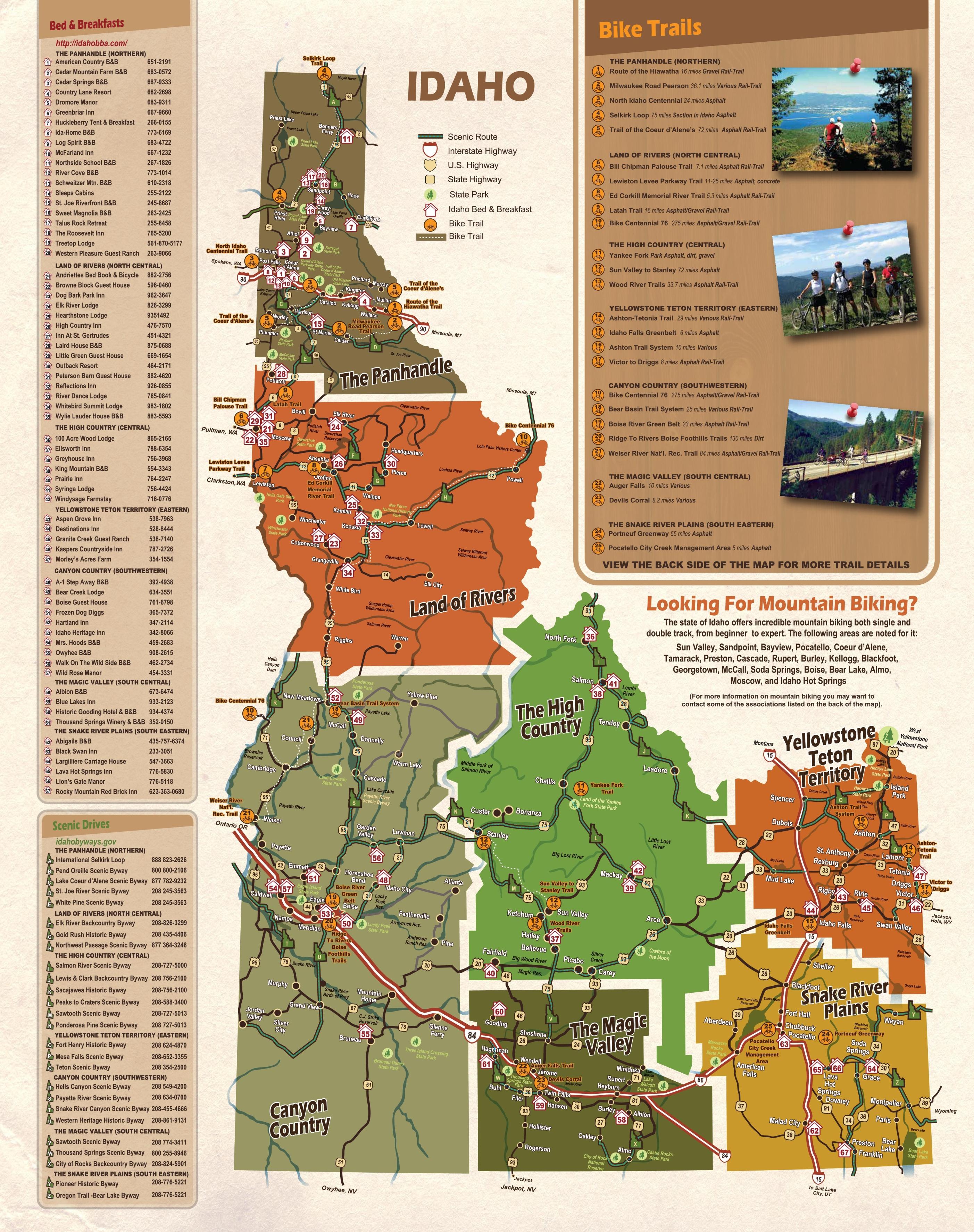 Idaho tourist map