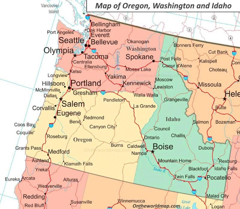 idaho and washington map Map Of Idaho Washington And Oregon idaho and washington map