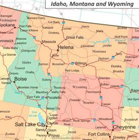Map of Idaho, Wyoming and Montana