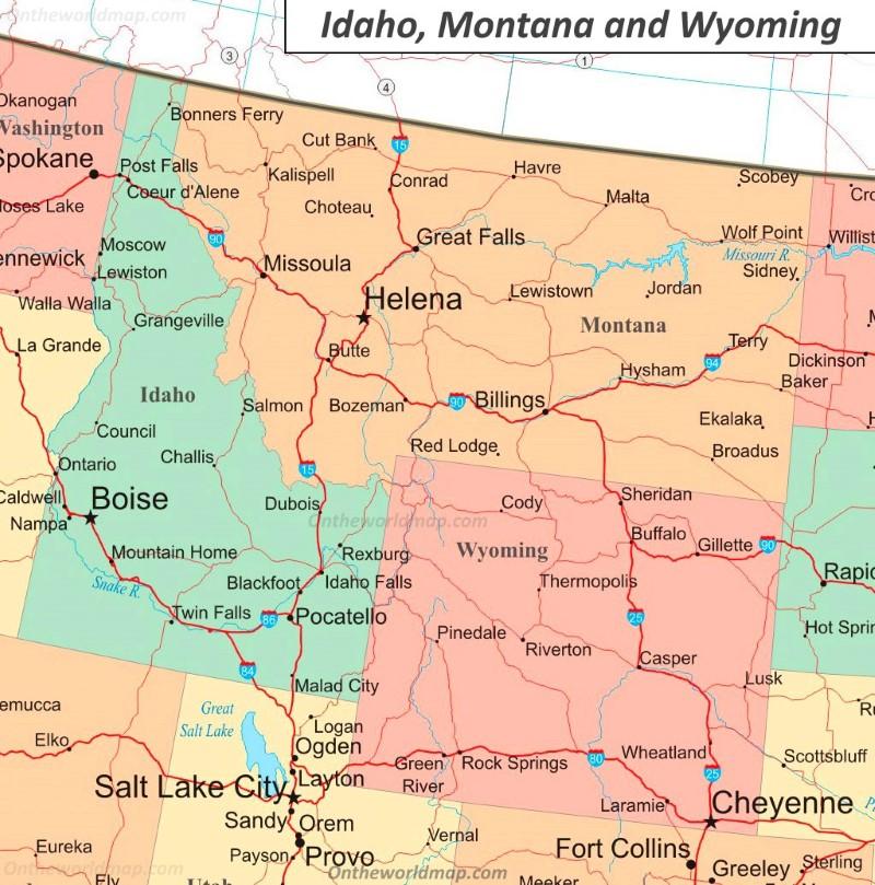 road map of idaho and wyoming Map Of Idaho Wyoming And Montana road map of idaho and wyoming
