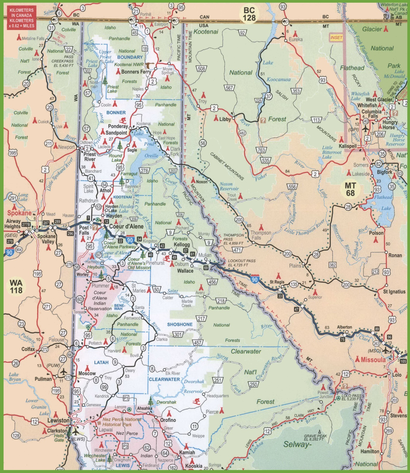 . map of northern idaho