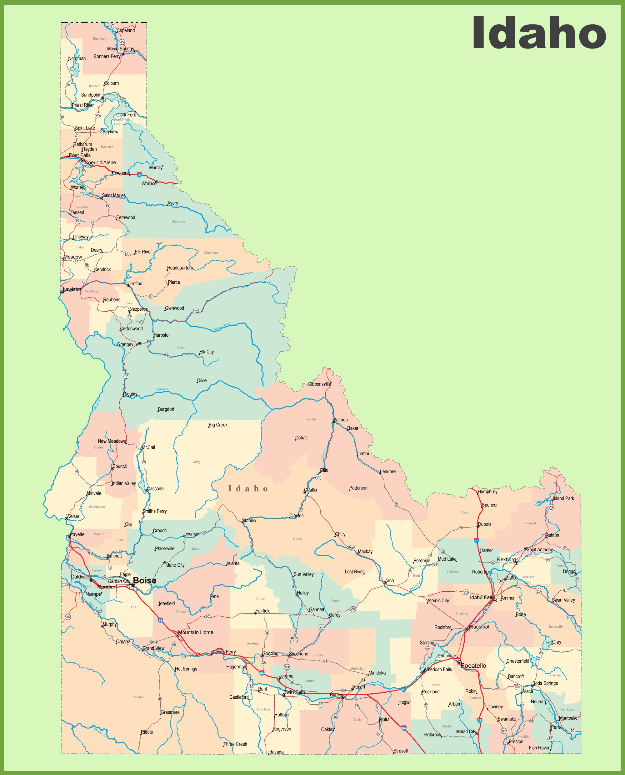 Worksheet. Road map of Idaho with cities and towns