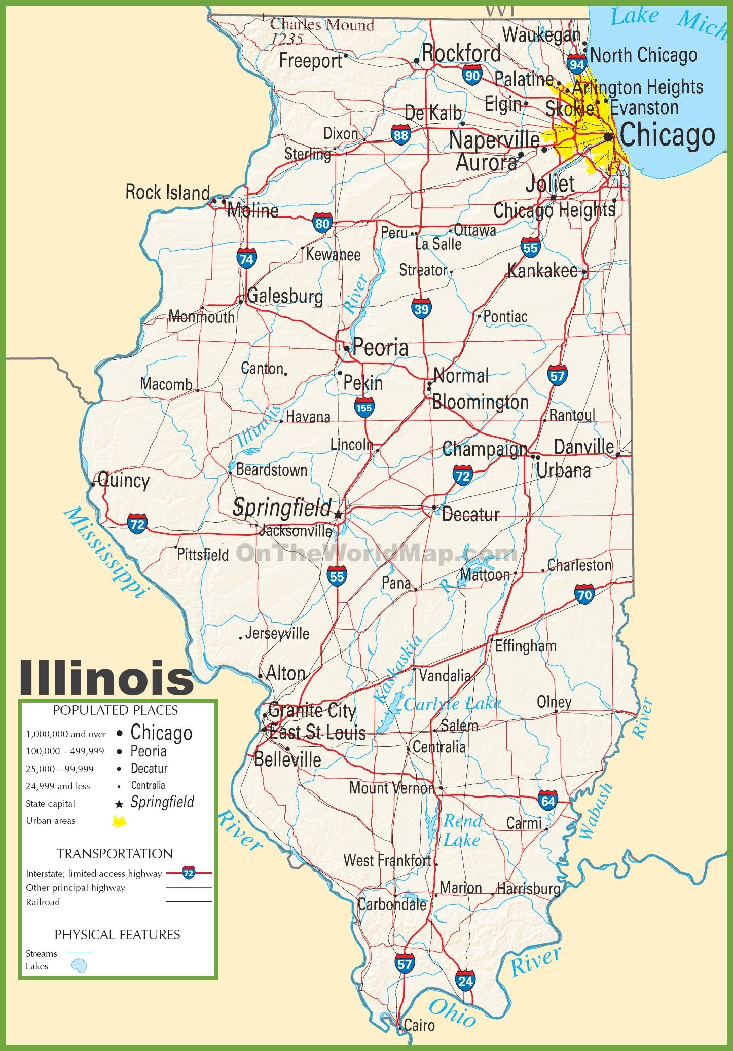 Illinois Highway Map Illinois highway map