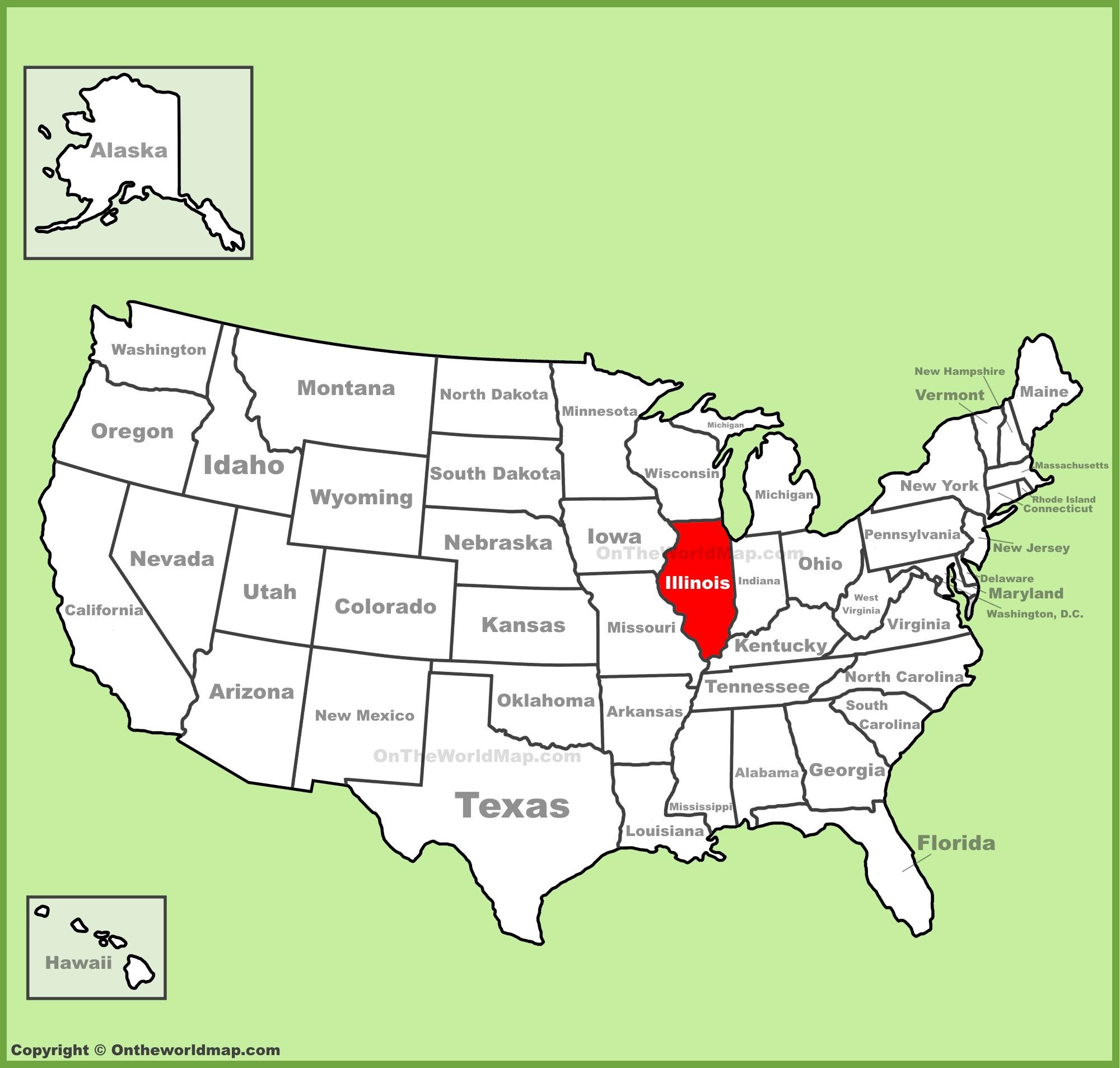 Maps On Us Illinois location on the U.S. Map Maps On Us