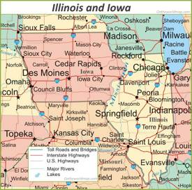 Map of Illinois and Iowa