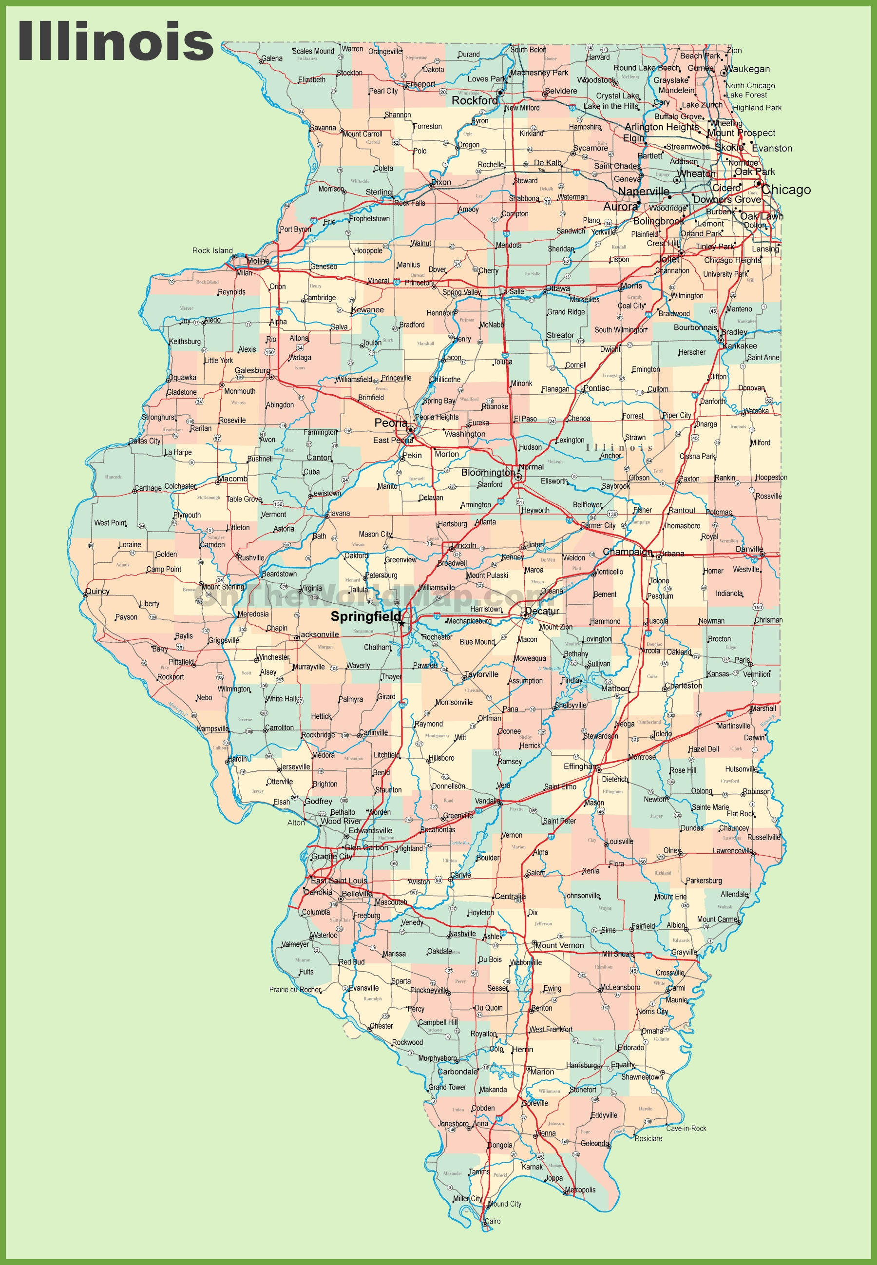 Illinois State Map With Cities Map of Illinois with cities and towns