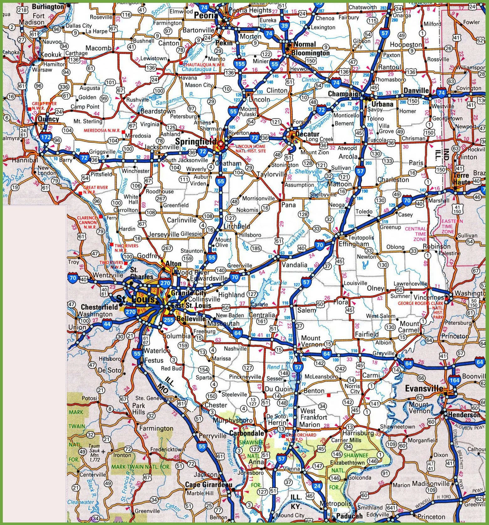 Southern Illinois Map Map of Southern Illinois