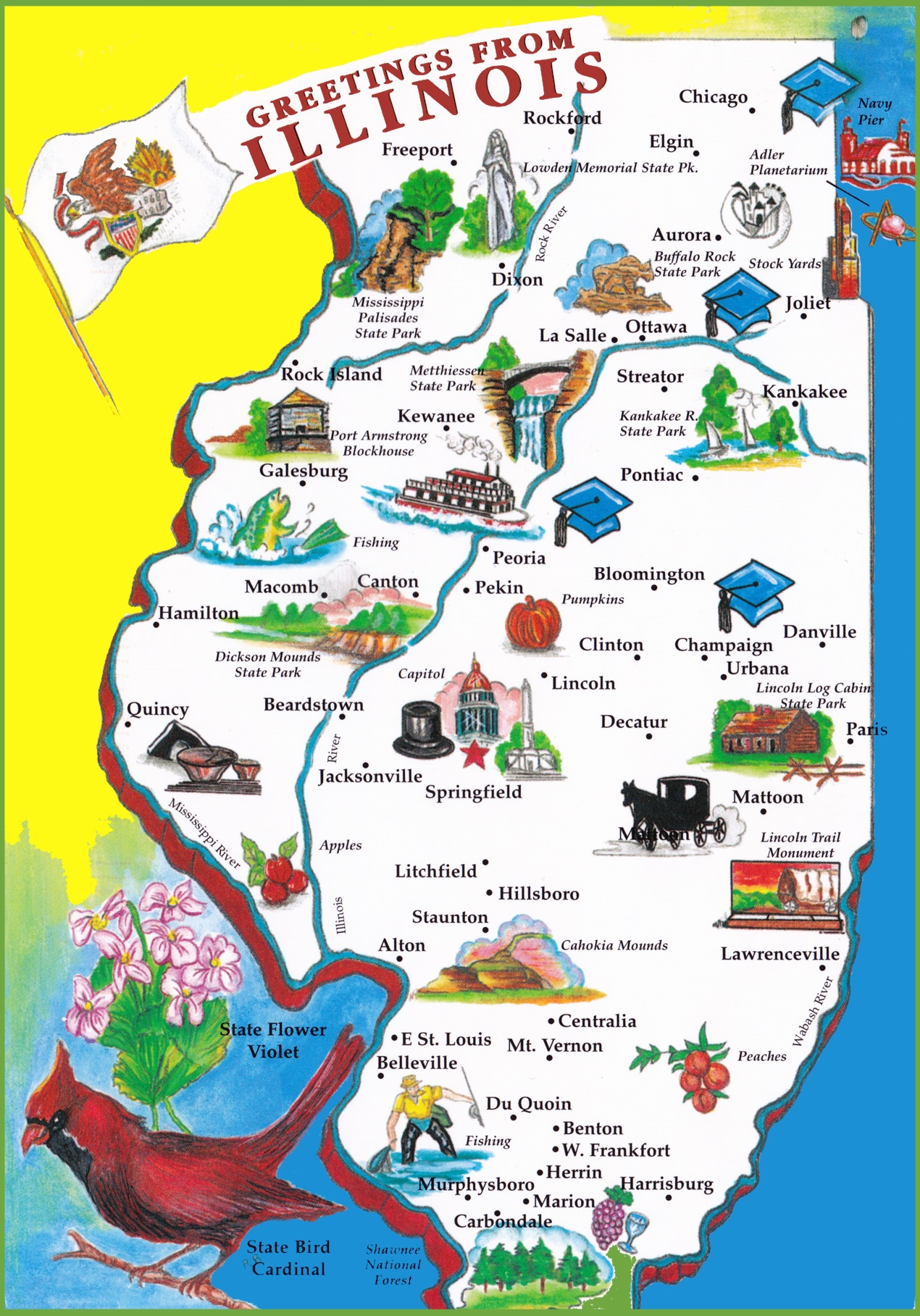 Map Of Illinois Pictorial travel map of Illinois Map Of Illinois