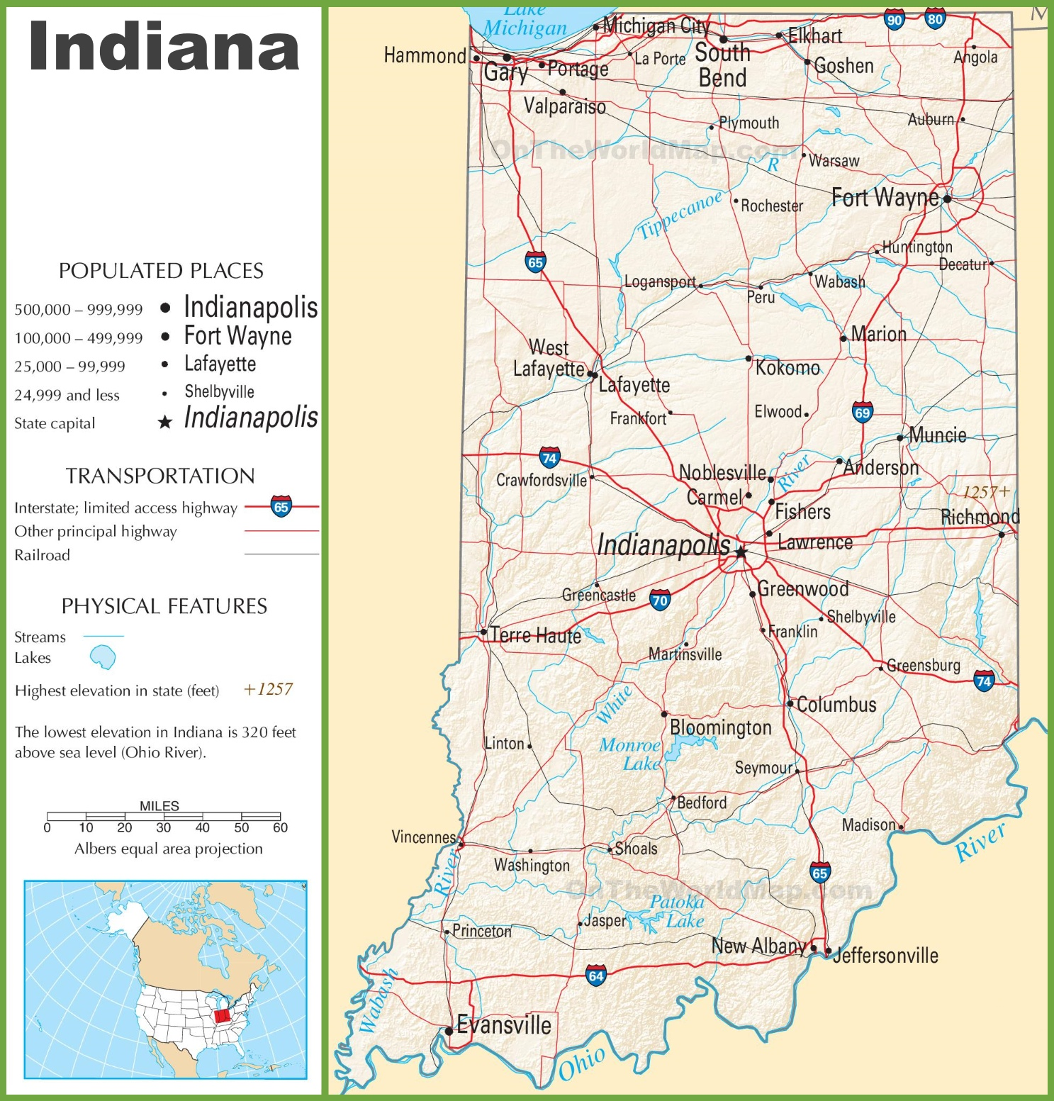State Of Indiana Map Indiana highway map