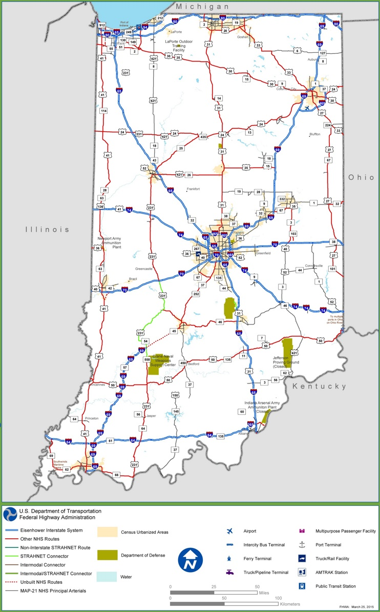 Indiana interstate map