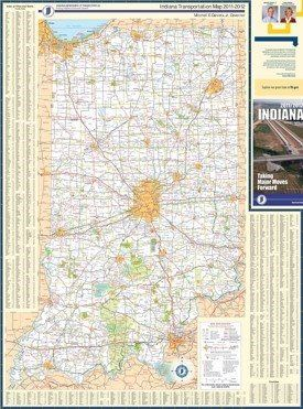 Large detailed map of Indiana with cities and towns