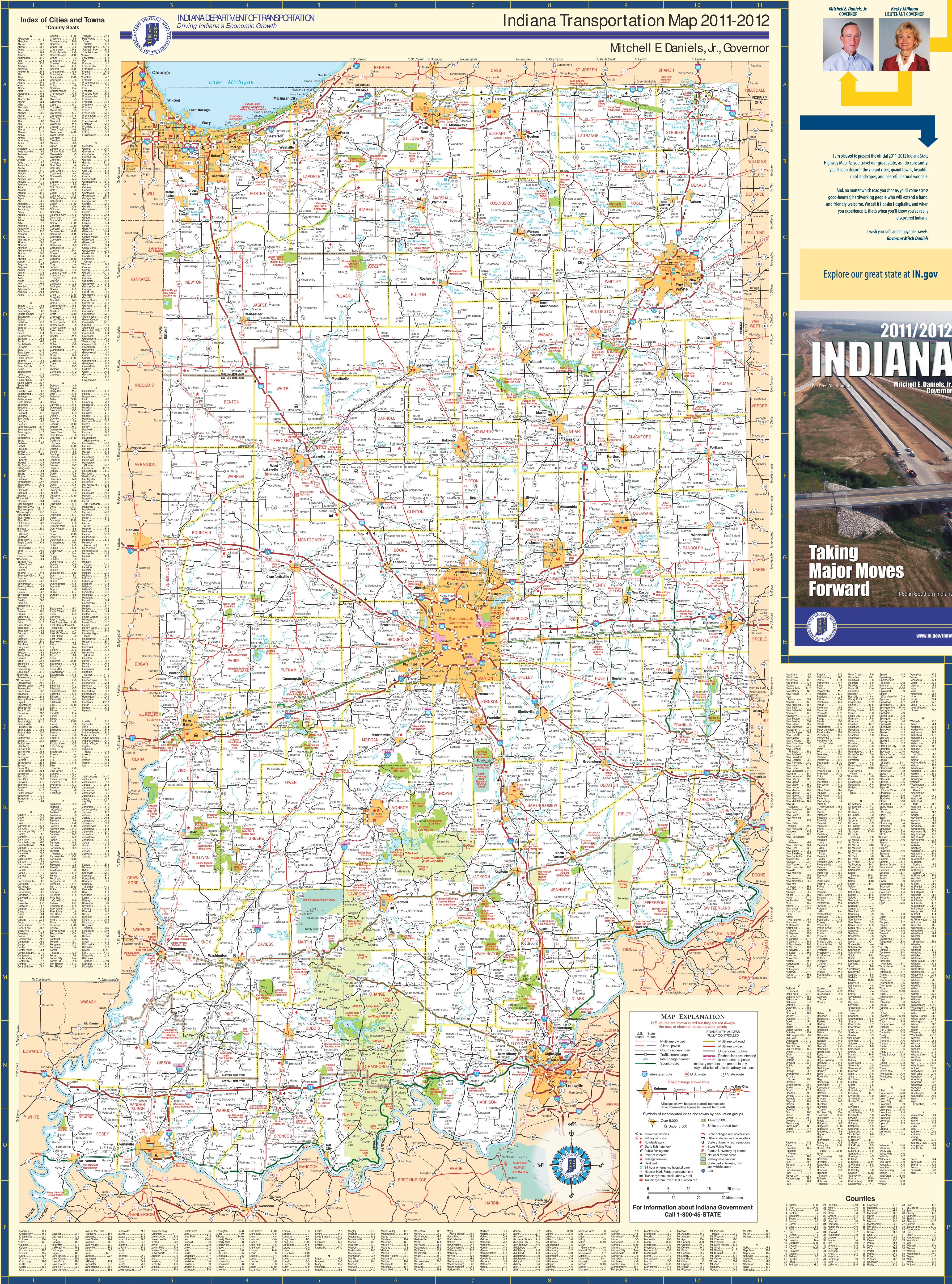 Large Detailed Map Of Indiana With Cities And Towns - Indiana map of usa
