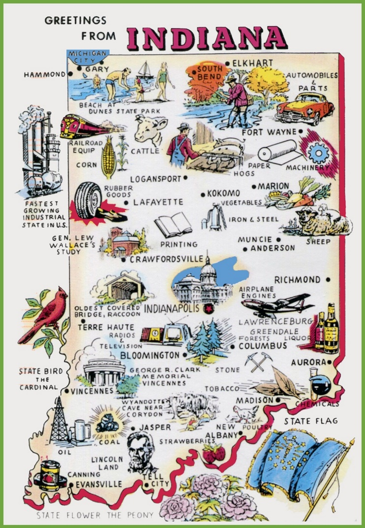 Pictorial travel map of Indiana