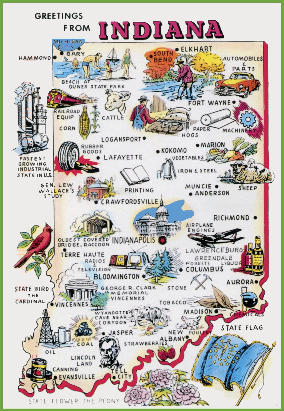 Pictorial travel map of Indiana – Indiana Travel Map