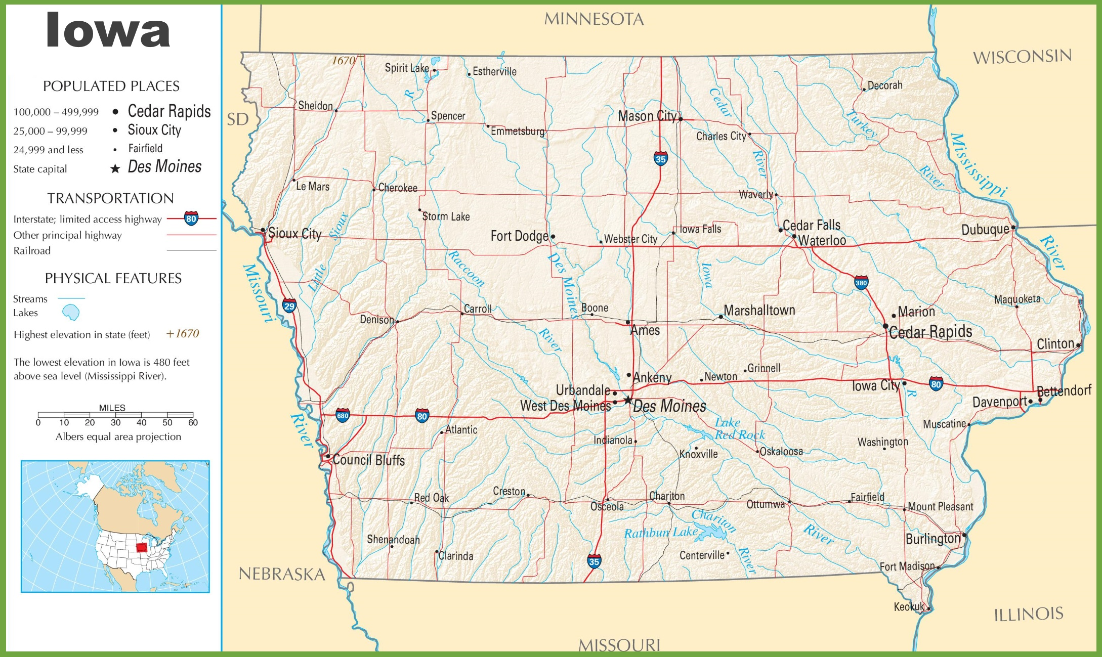 Iowa Highway Map - Iowa usa map