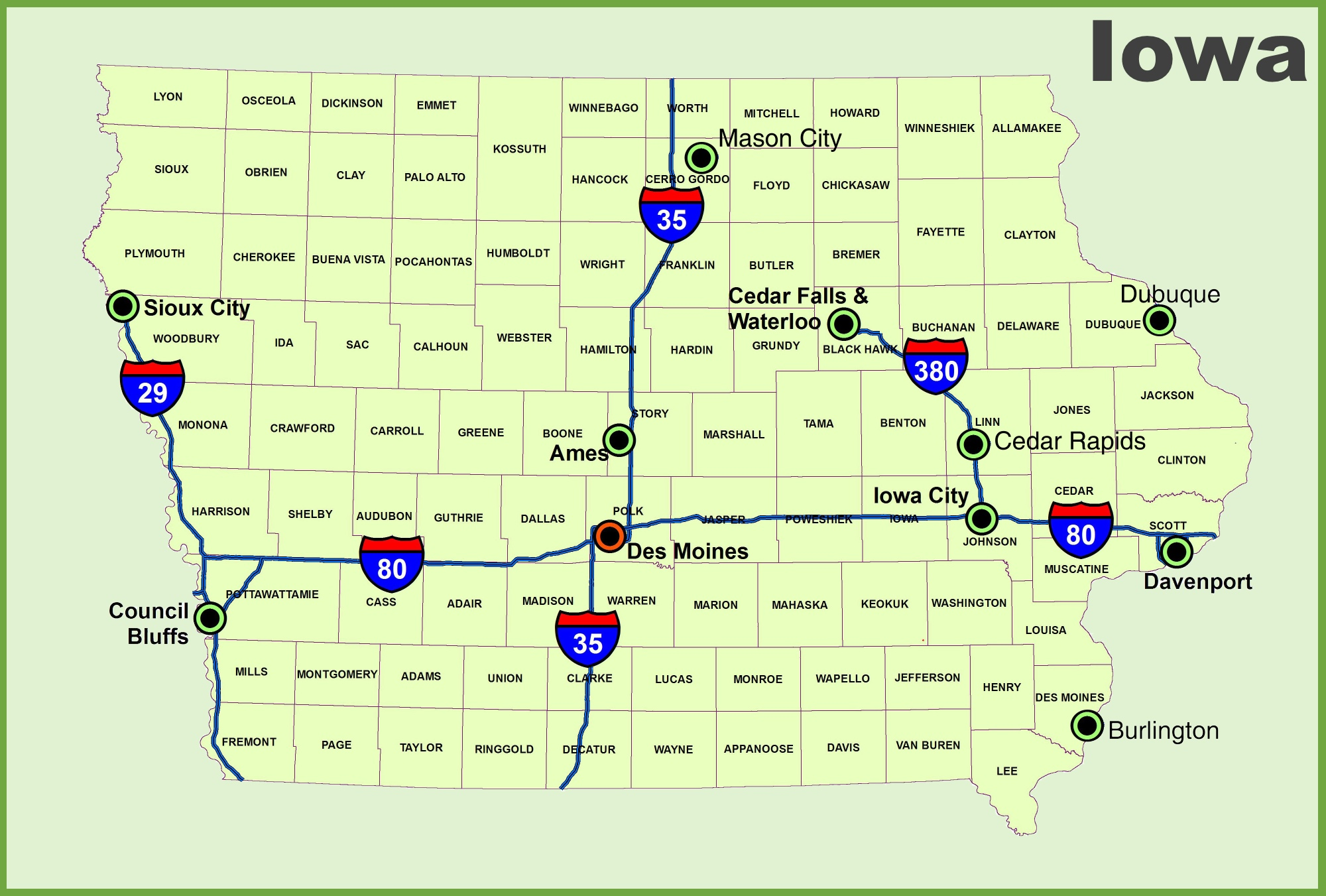 Iowa Maps Map Of Iowa ISP District Map Location Iowa Ipl Stately - Iowa on us map