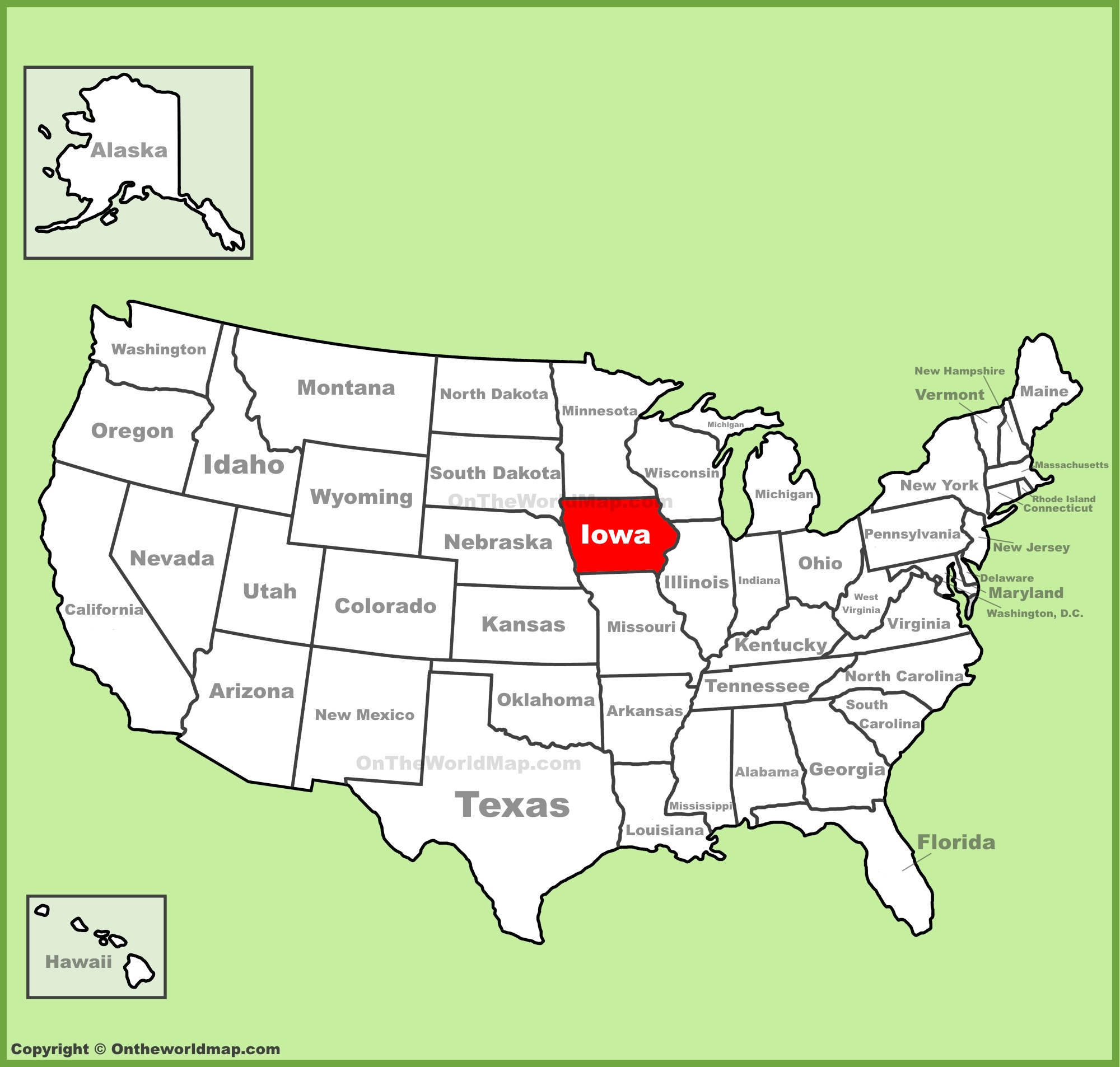 full size iowa location map