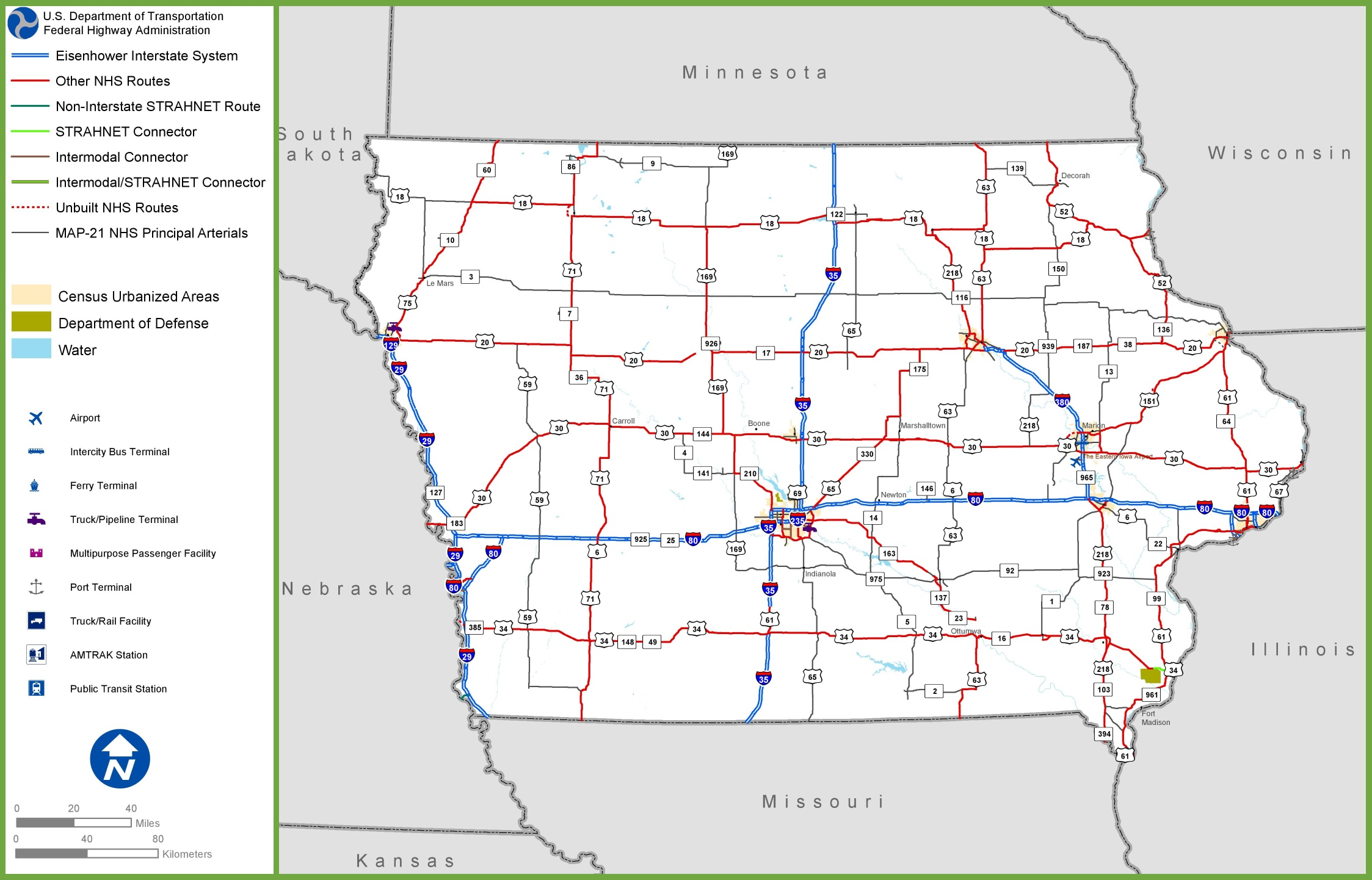 Iowa Road Map - Iowa map us