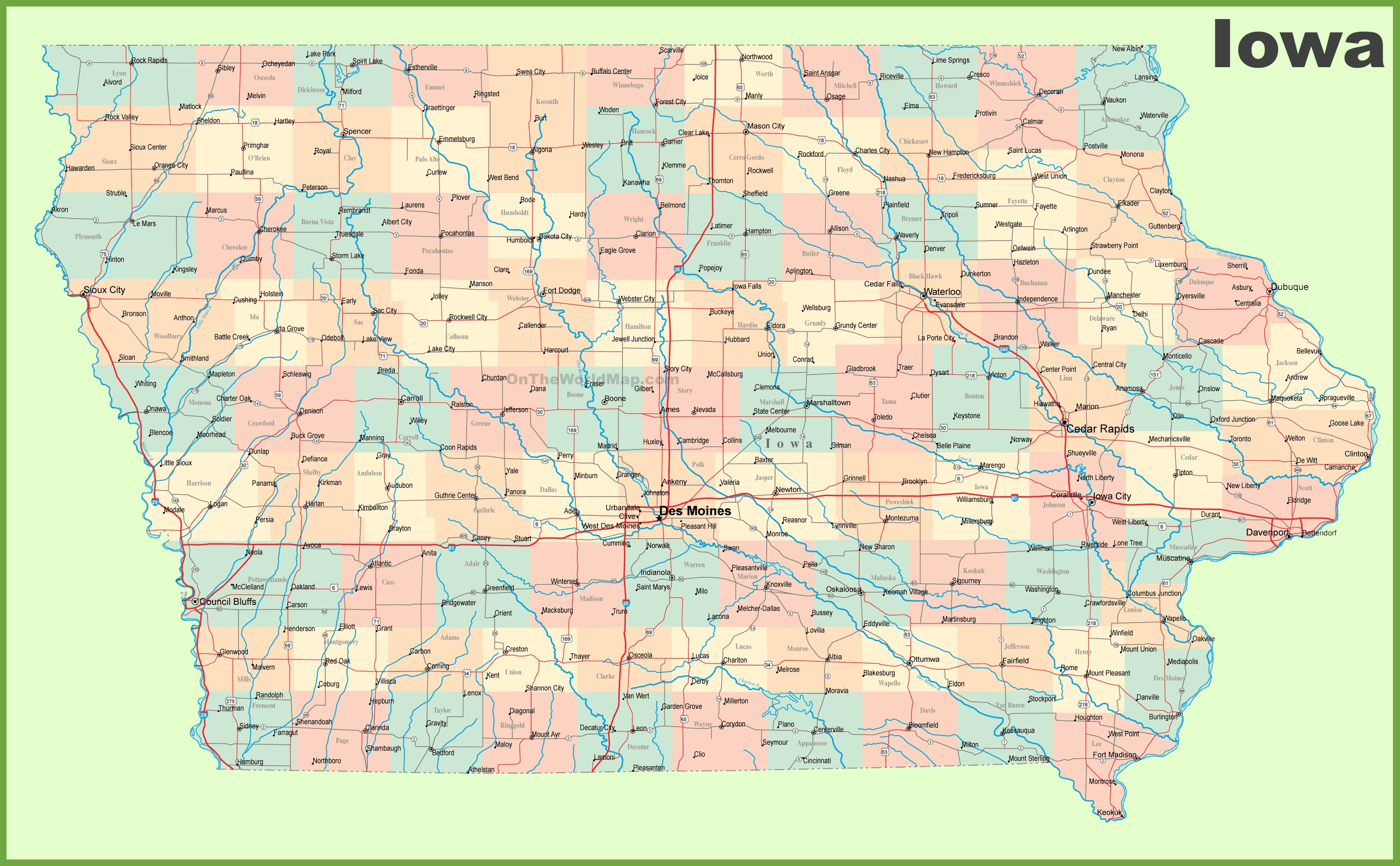 Large detailed map of Iowa with cities and towns