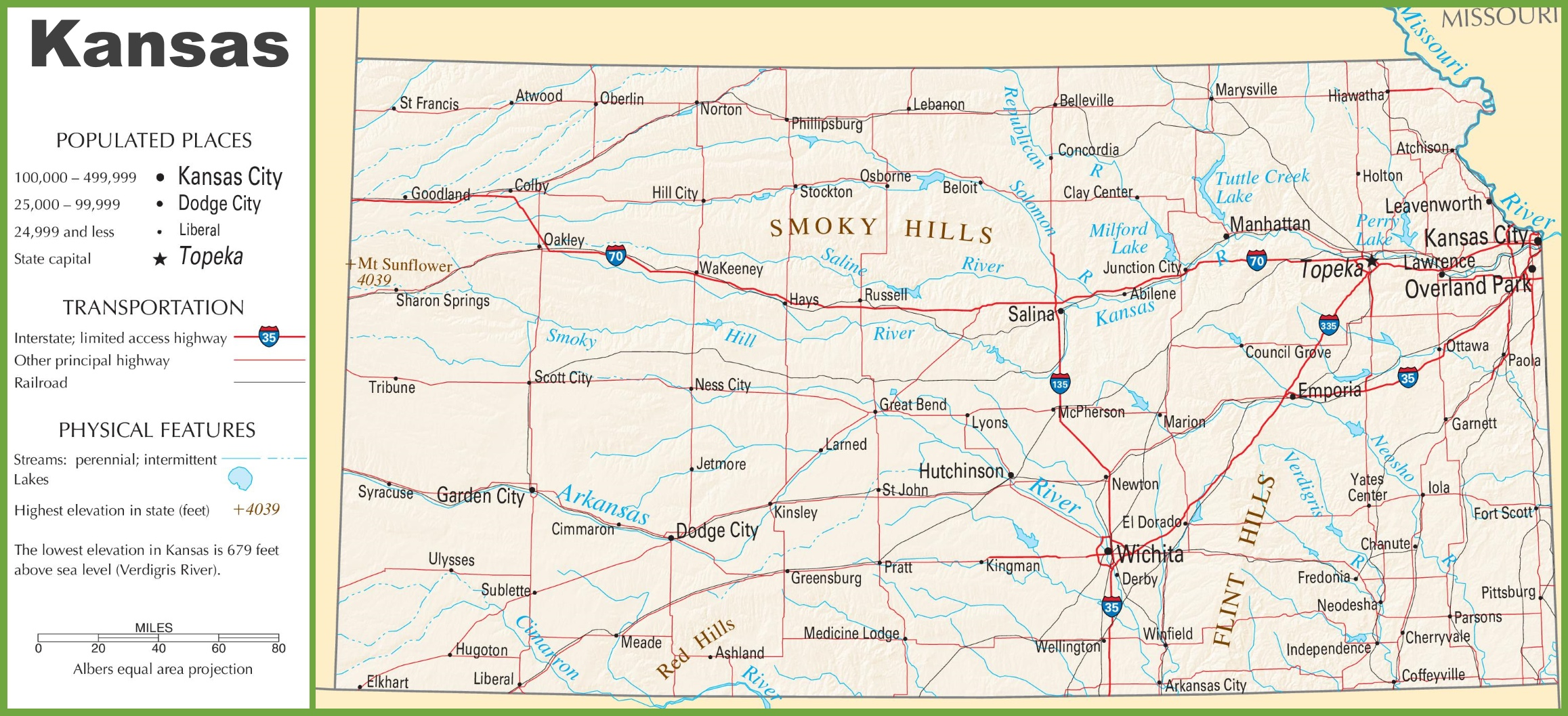 Kansas highway map
