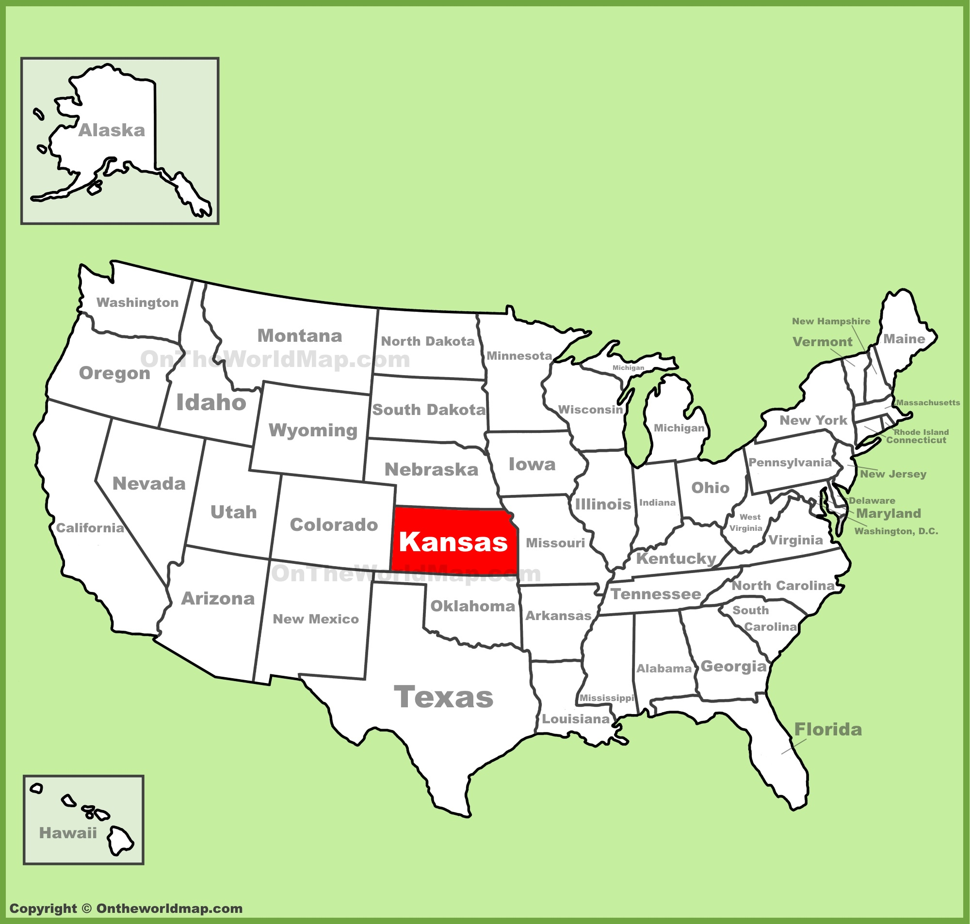 Kansas location on the US Map