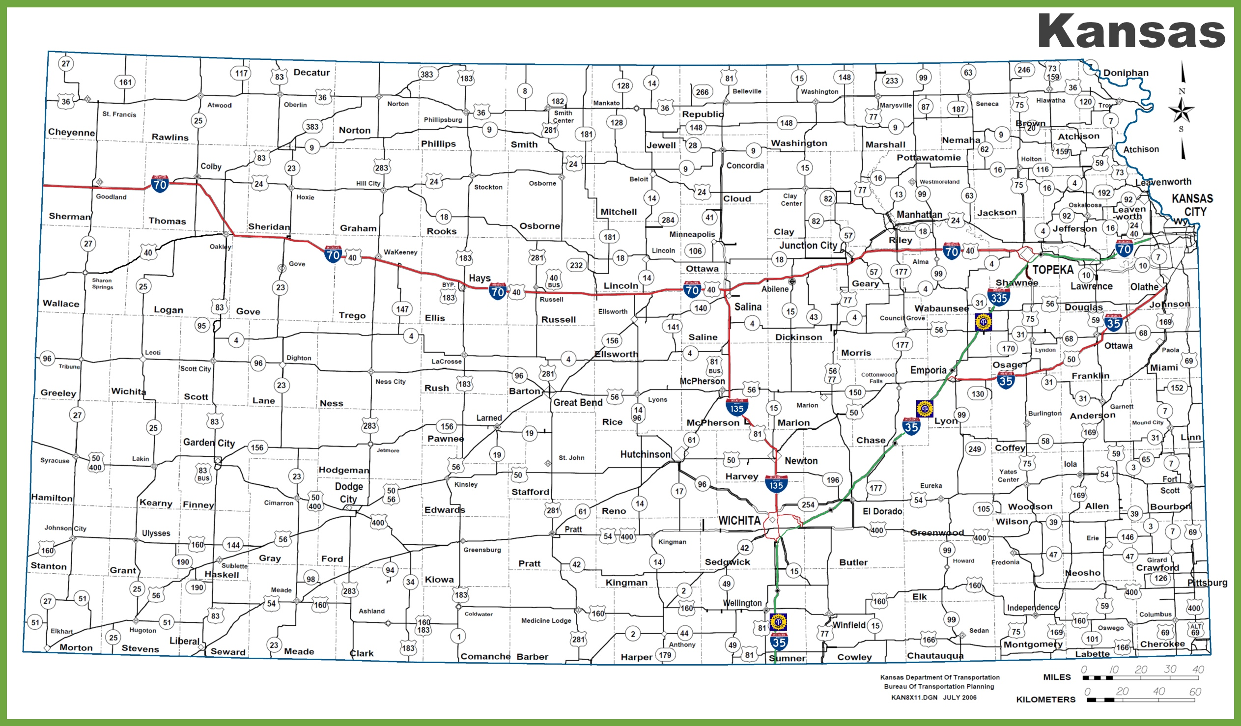 Kansas Road Map - Us interstate map with cities