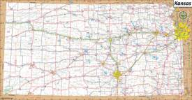 Large Detailed Map of Kansas With Cities and Towns