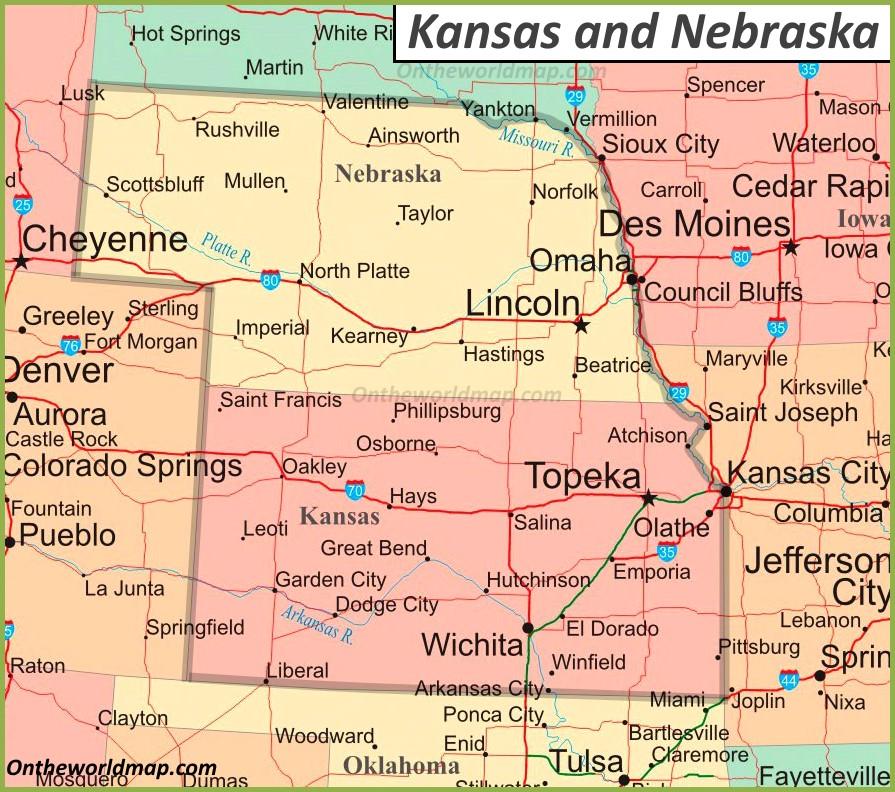 map of nebraska and kansas Map Of Kansas And Nebraska map of nebraska and kansas