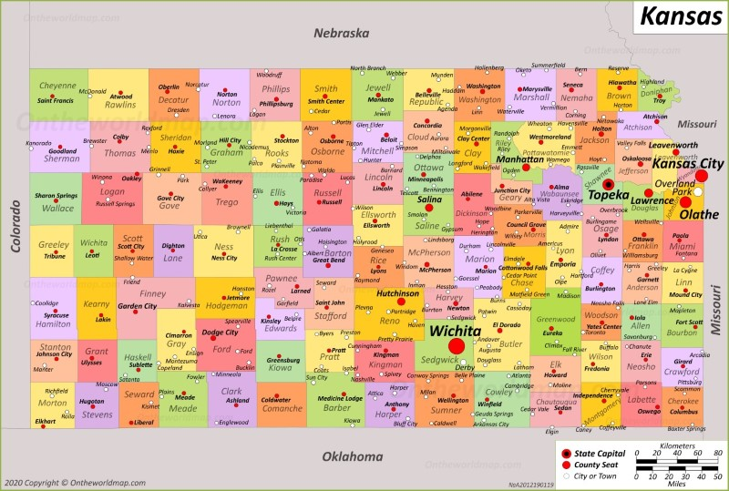 Kansas State Map | USA | Maps of Kansas (KS)