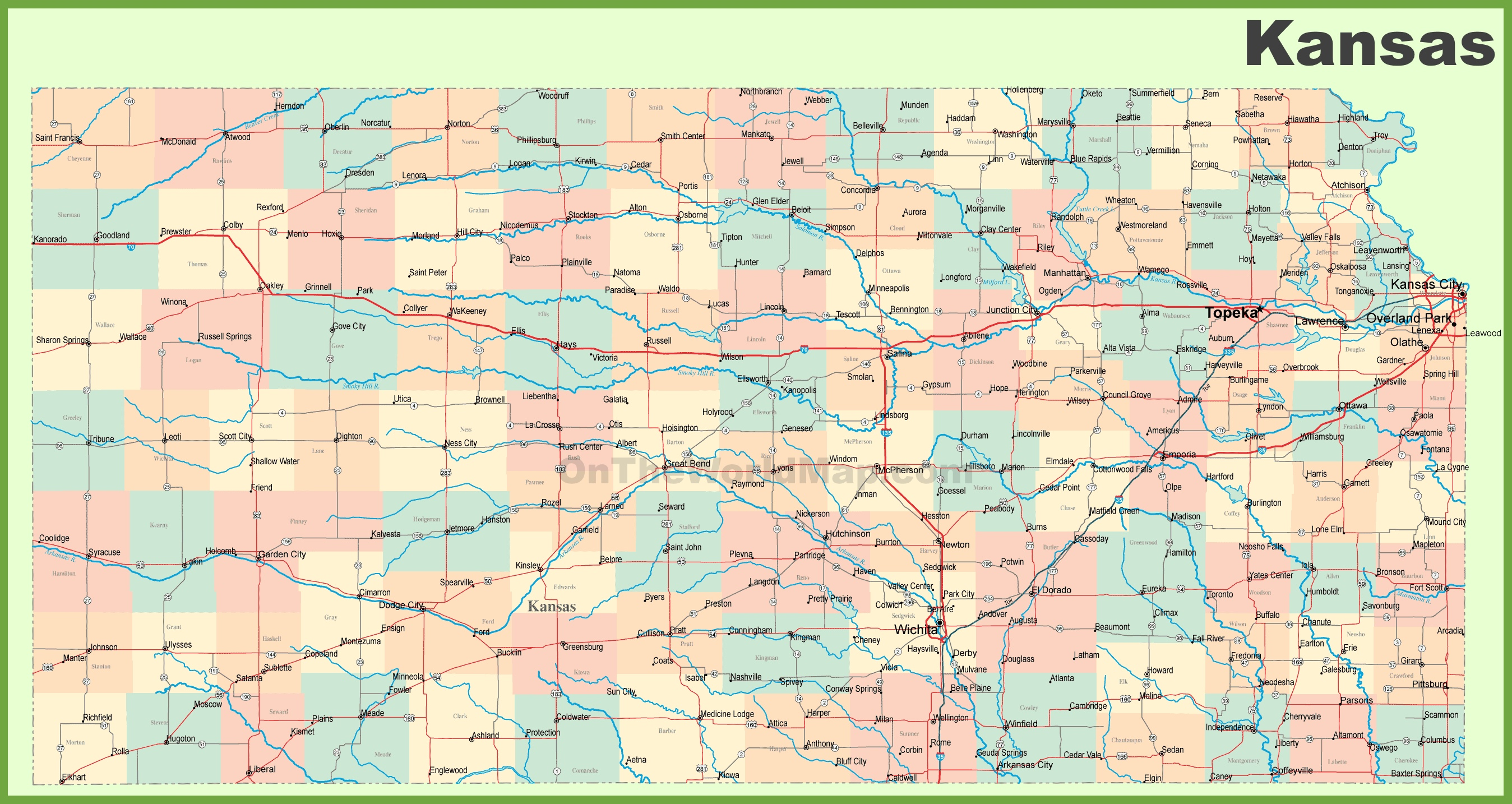 Road map of Kansas with cities Detailed Map Of Kansas on