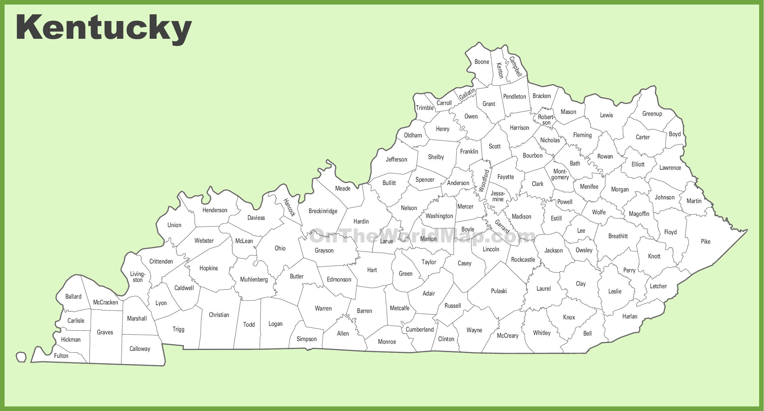 It is a graphic of Dramatic Printable Maps of Kentucky