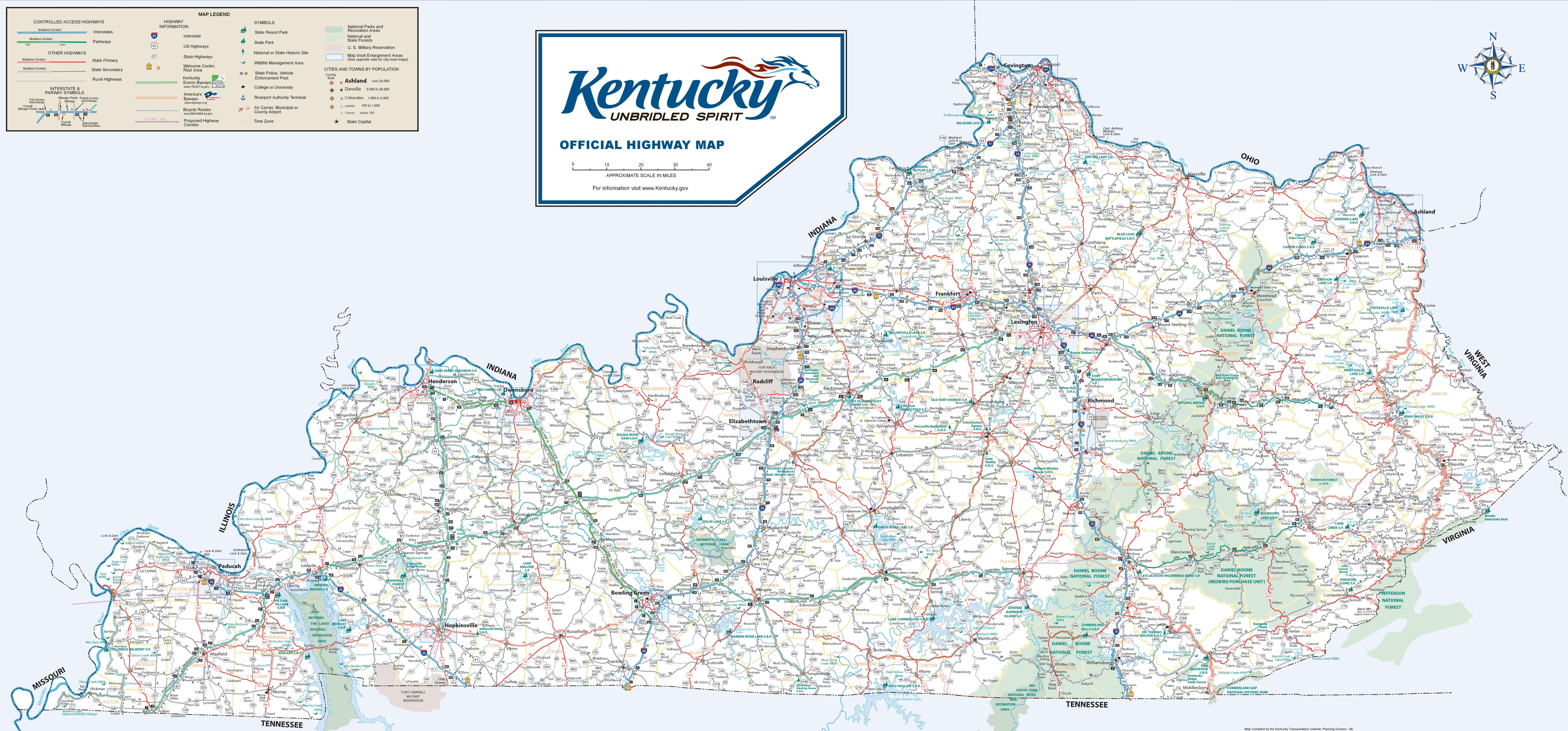 Kentucky Road Map Large detailed road map of Kentucky