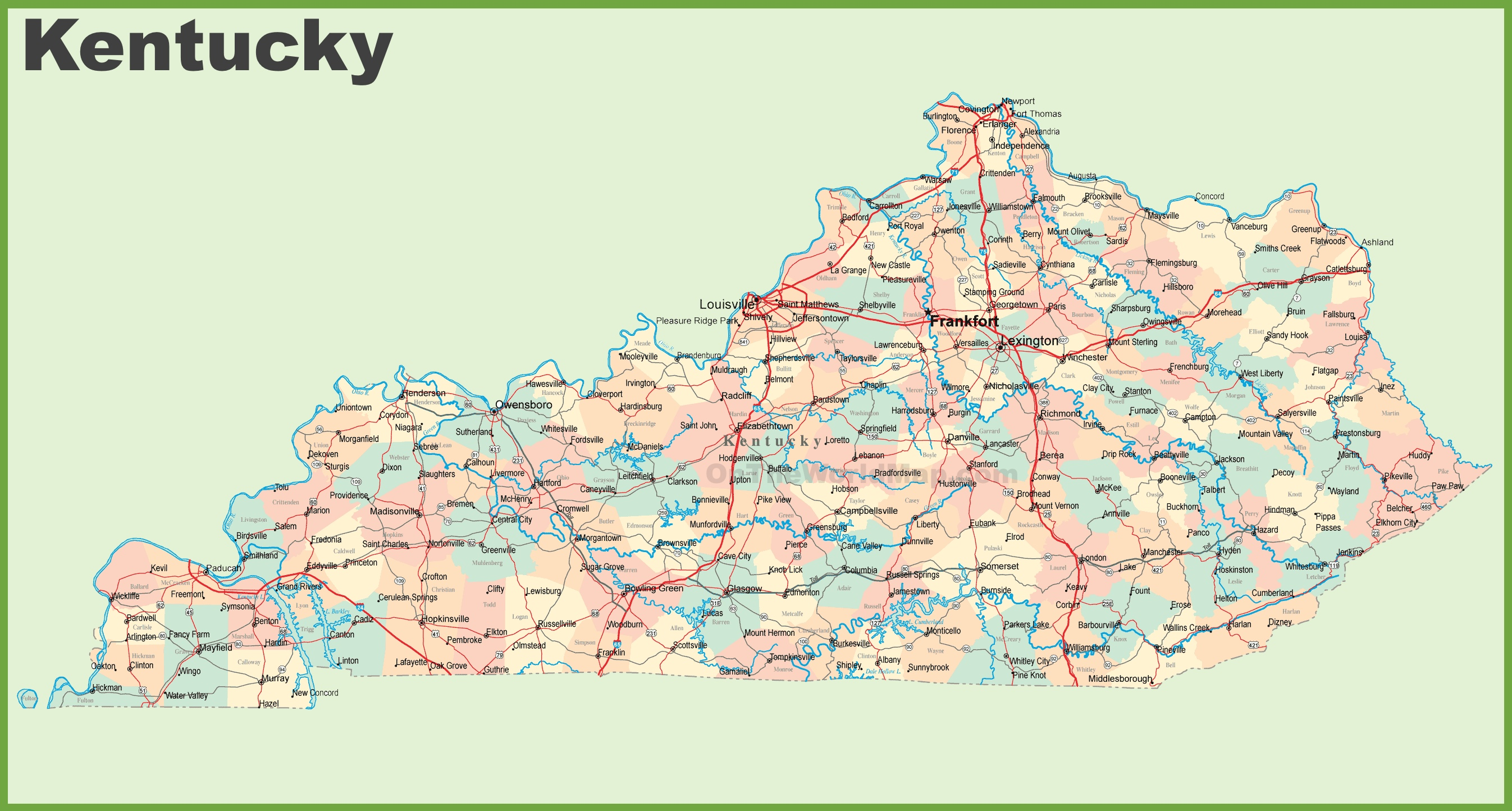 road map of kentucky with cities