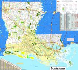 Large detailed map of Louisiana with cities and towns