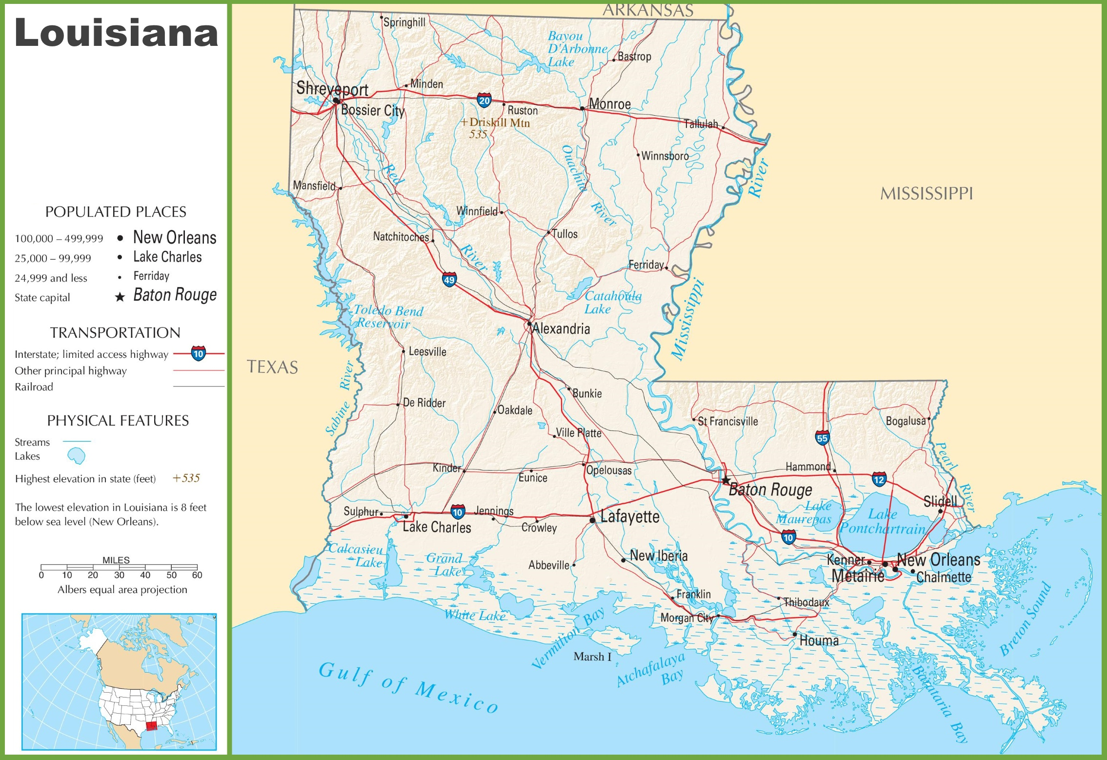 Louisiana Highway Map Louisiana highway map