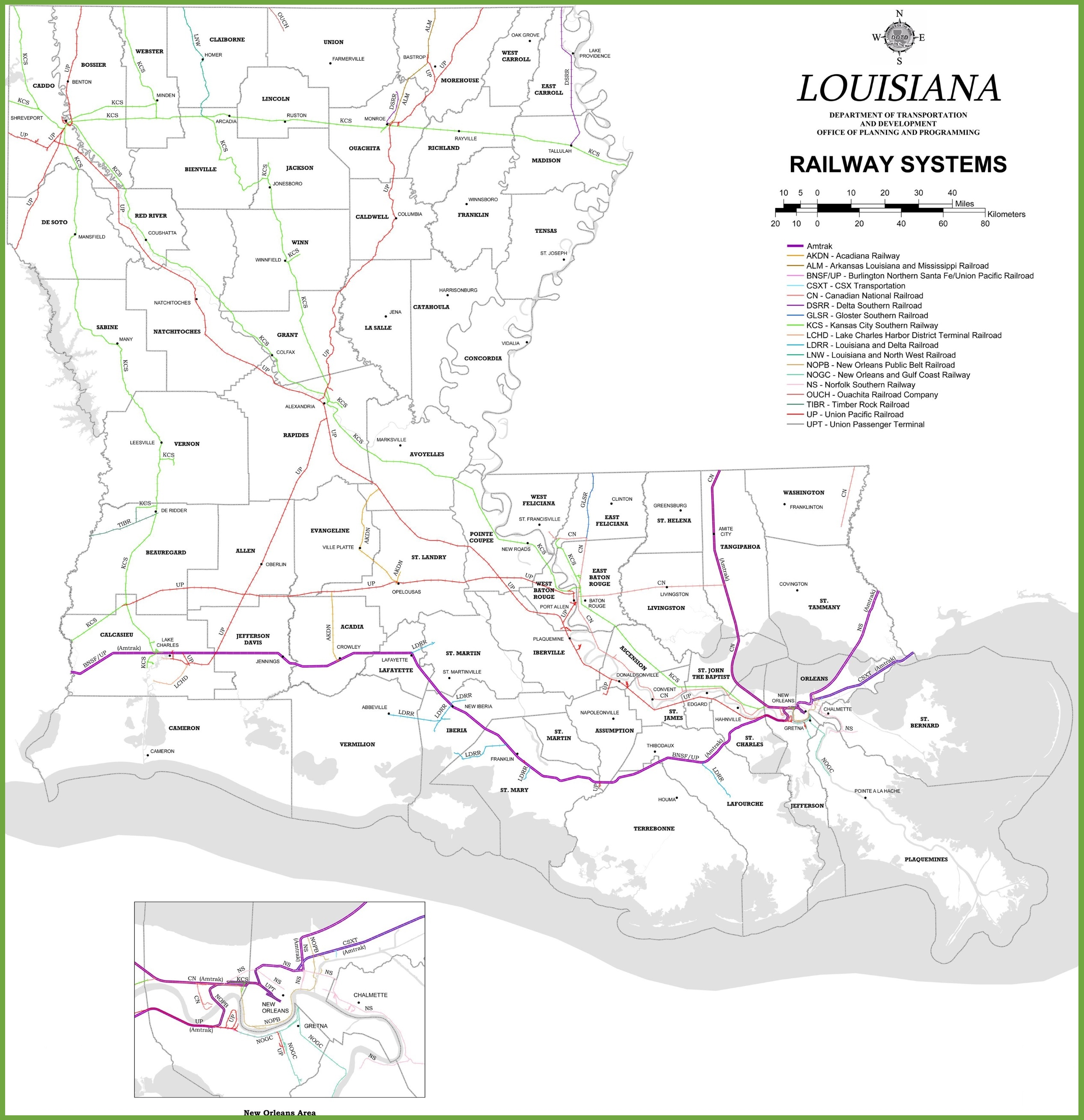 Louisiana railway map