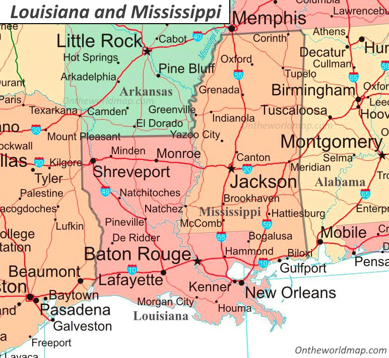 Map Of Louisiana And Mississippi Map of Louisiana and Mississippi